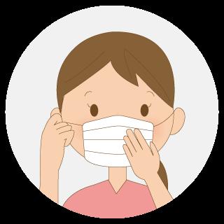ゴムを耳にかけて、鼻・ほほ・顎を合わせて、鼻と口を確実に覆います