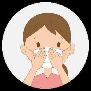 鼻の部分を押さえてフィットさせ、マスクに手を沿わせて隙間を作らないように調整します